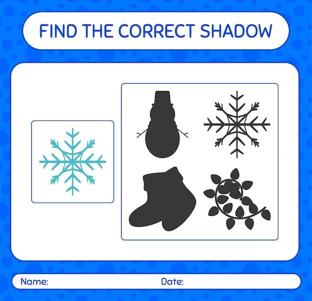 Znajdź odpowiednią grę cieni z płatkiem śniegu. arkusz roboczy dla dzieci w wieku przedszkolnym, arkusz aktywności dla dzieci