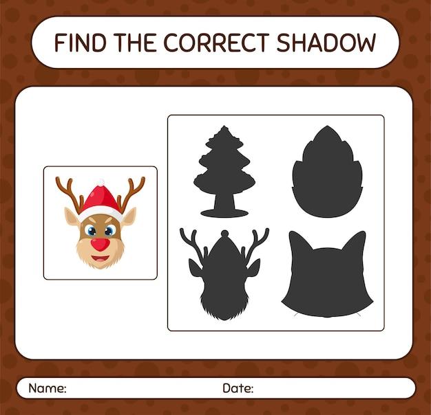 Znajdź odpowiednią grę cieni z reniferem. arkusz roboczy dla dzieci w wieku przedszkolnym, arkusz aktywności dla dzieci