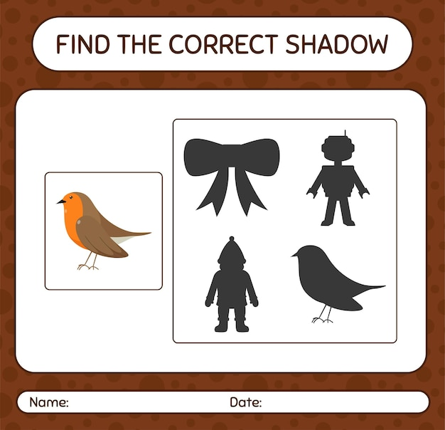 Znajdź odpowiednią grę cieni z robin bird. arkusz roboczy dla dzieci w wieku przedszkolnym, arkusz aktywności dla dzieci