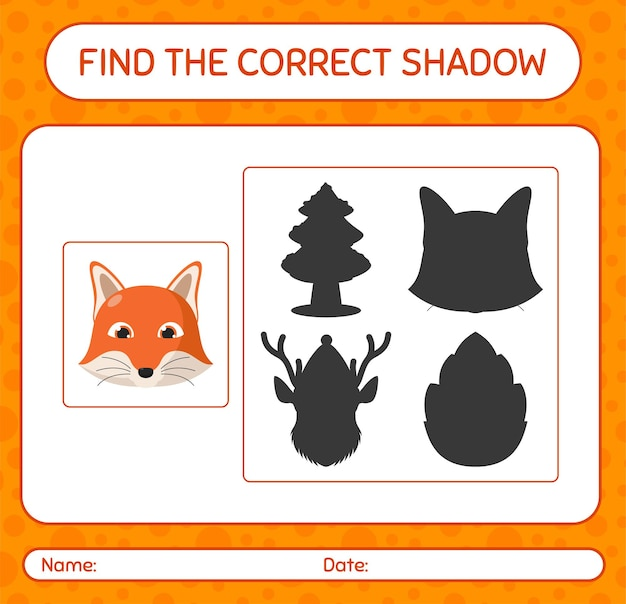 Znajdź odpowiednią grę cieni z rudym lisem. arkusz roboczy dla dzieci w wieku przedszkolnym, arkusz aktywności dla dzieci