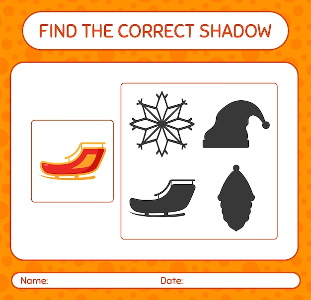 Znajdź odpowiednią grę cieni z saniami świętego mikołaja. arkusz roboczy dla dzieci w wieku przedszkolnym, arkusz aktywności dla dzieci