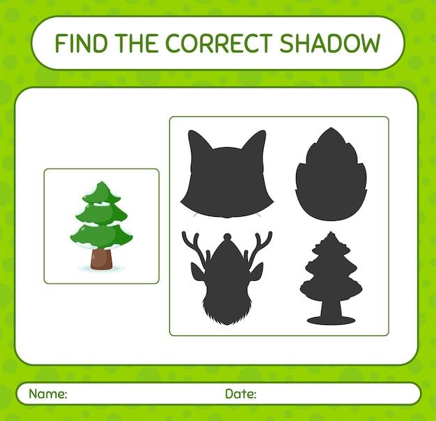 Znajdź odpowiednią grę cieni z sosną. arkusz roboczy dla dzieci w wieku przedszkolnym, arkusz aktywności dla dzieci
