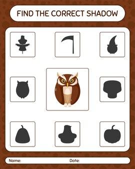Znajdź odpowiednią grę cieni z sową. arkusz roboczy dla dzieci w wieku przedszkolnym, arkusz aktywności dla dzieci