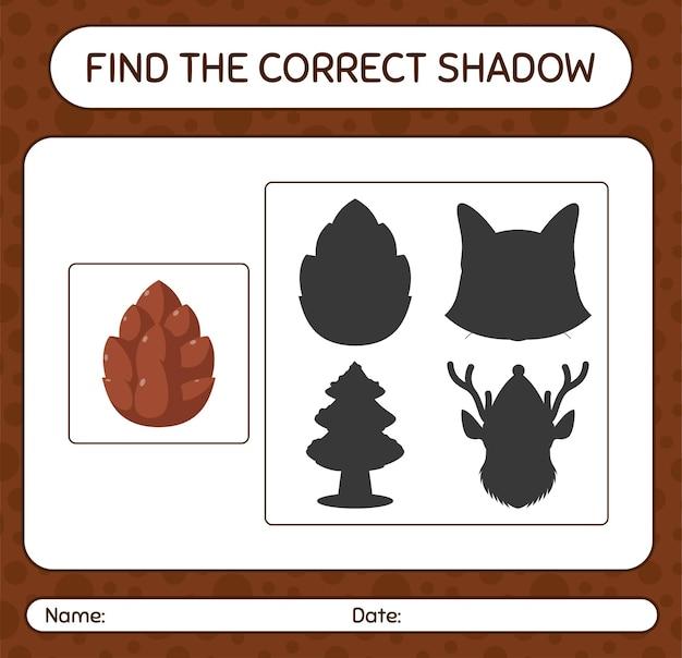 Znajdź odpowiednią grę cieni z szyszką. arkusz roboczy dla dzieci w wieku przedszkolnym, arkusz aktywności dla dzieci