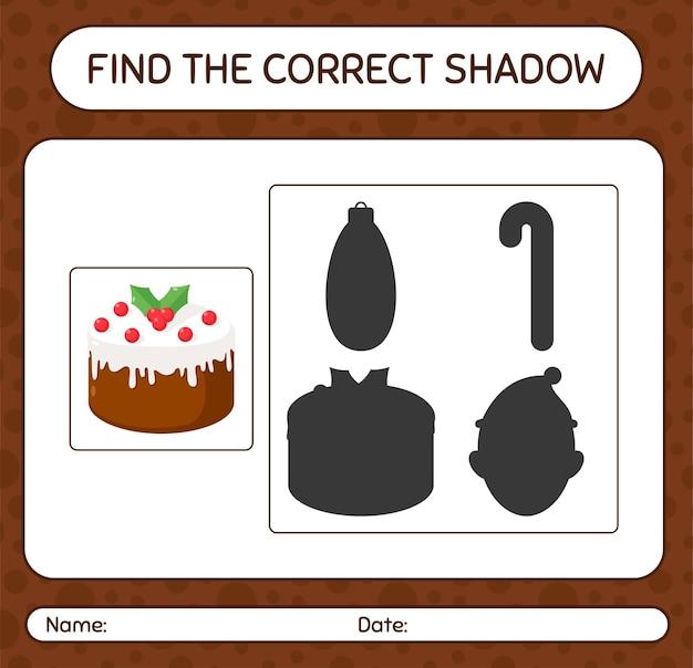 Znajdź odpowiednią grę cieni z tortem świątecznym. arkusz roboczy dla dzieci w wieku przedszkolnym, arkusz aktywności dla dzieci