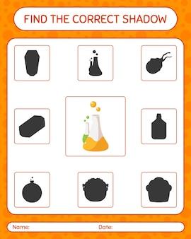 Znajdź odpowiednią grę cieni z tubą chemii. arkusz roboczy dla dzieci w wieku przedszkolnym, arkusz aktywności dla dzieci