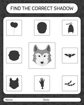 Znajdź odpowiednią grę cieni z wilkiem. arkusz roboczy dla dzieci w wieku przedszkolnym, arkusz aktywności dla dzieci