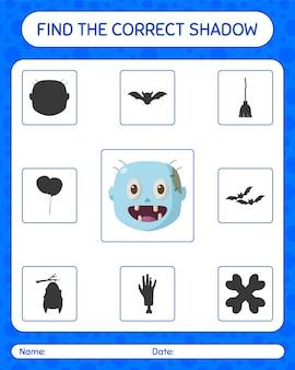 Znajdź odpowiednią grę cieni z zombie. arkusz roboczy dla dzieci w wieku przedszkolnym, arkusz aktywności dla dzieci