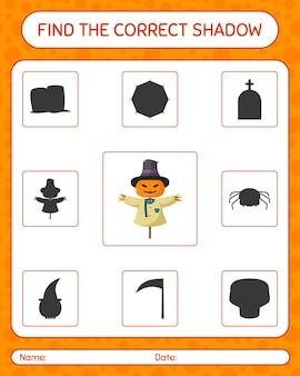 Znajdź odpowiednią grę cieni ze strachem na wróble. arkusz roboczy dla dzieci w wieku przedszkolnym, arkusz aktywności dla dzieci