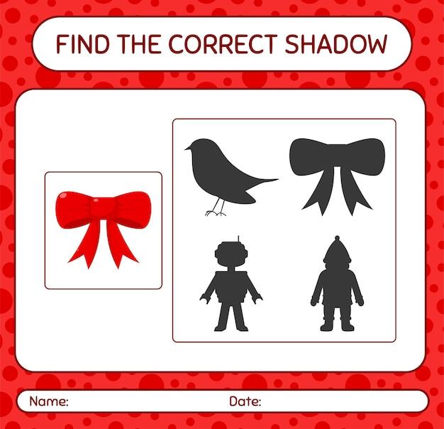Znajdź odpowiednią grę cieni ze wstążką. arkusz roboczy dla dzieci w wieku przedszkolnym, arkusz aktywności dla dzieci