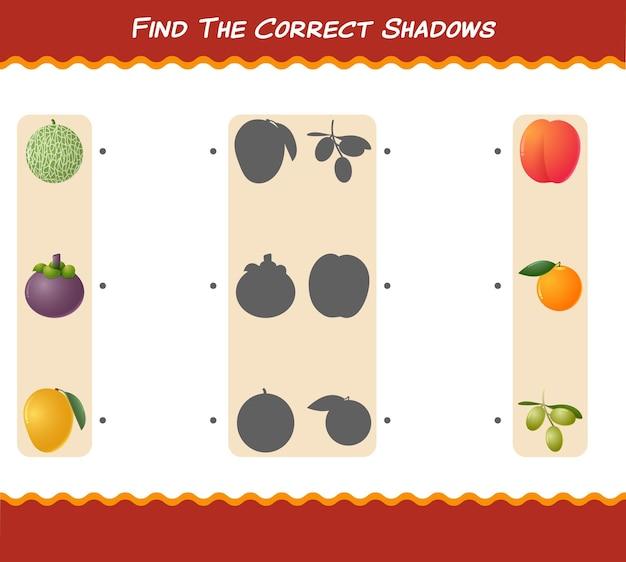 Znajdź odpowiednie cienie kreskówkowych owoców. gra wyszukiwania i dopasowywania. gra edukacyjna dla dzieci i niemowląt w wieku przedszkolnym
