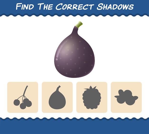 Znajdź odpowiednie cienie rysunkowych fig. gra wyszukiwania i dopasowywania. gra edukacyjna dla dzieci i niemowląt w wieku przedszkolnym