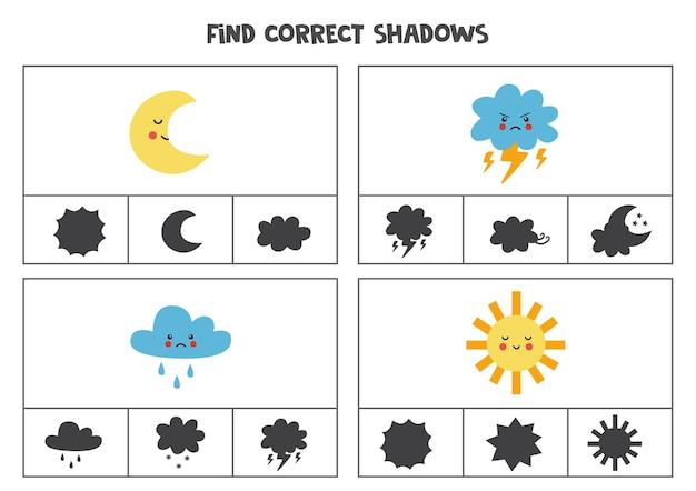 Znajdź odpowiednie cienie uroczych elementów pogodowych. karty klipsowe dla dzieci w wieku przedszkolnym.