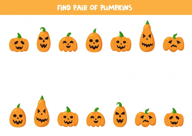 Znajdź pary do słodkich dyń na halloween. gra dla dzieci.