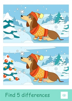Znajdź pięć quizów uczących się gry dla dzieci z wizerunkiem psa w kapeluszu i swetrze siedzącego na śniegu w pobliżu świerka. kolorowy obraz zwierząt domowych. aktywność rozwojowa dla dzieci.