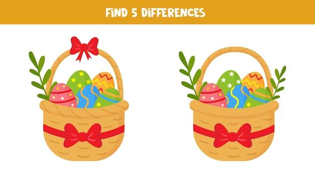 Znajdź pięć różnic między dwoma wielkanocnymi koszyczkami pełnymi jajek.
