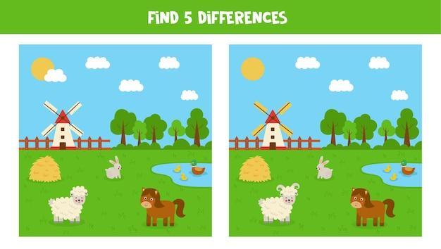 Znajdź pięć różnic między obrazkami. krajobraz użytków rolnych ze zwierzętami.