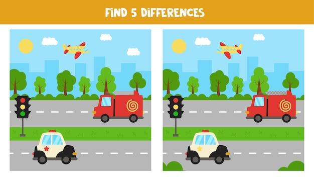 Znajdź pięć różnic między obrazkami. pejzaż miejski z transportem.