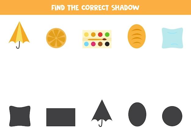 Znajdź prawidłowe cienie obiektów geometrycznych. logiczna łamigłówka dla dzieci.