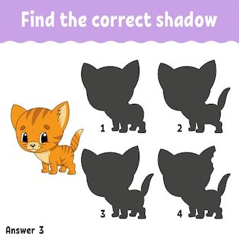 Znajdź prawidłowy cień arkusza roboczego kota