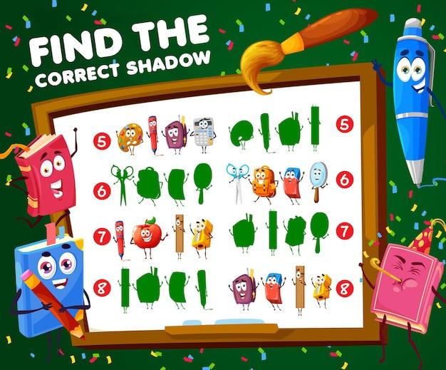Znajdź prawidłowy cień szkolnych postaci gry dla dzieci