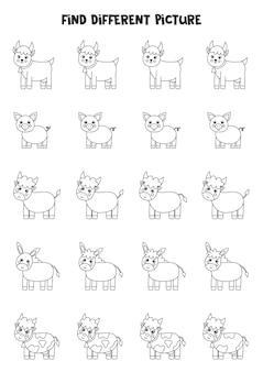 Znajdź różne czarno-białe zwierzęta gospodarskie w każdym rzędzie. gra logiczna dla dzieci w wieku przedszkolnym.