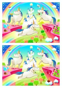 Znajdź różnicę. dwa obrazy z siedmioma zmianami między nimi, ilustracje wektorowe i kreskówkowe