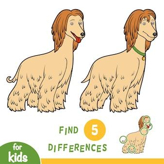 Znajdź różnice, gra edukacyjna dla dzieci, chart afgański