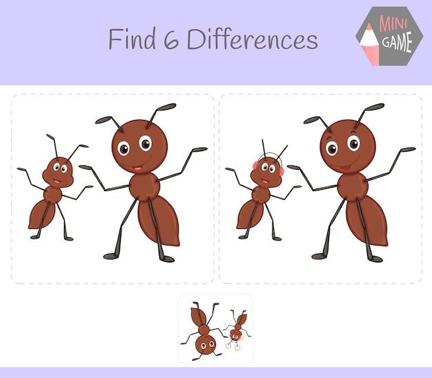 Znajdź różnice, gra edukacyjna dla dzieci. mrówka. zwierzęta w gospodarstwie.