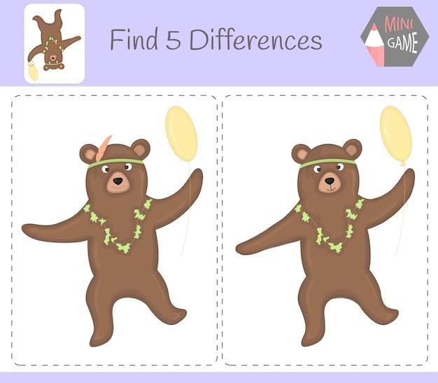 Znajdź różnice, gra edukacyjna dla dzieci. niedźwiedź. zwierzęta w gospodarstwie.