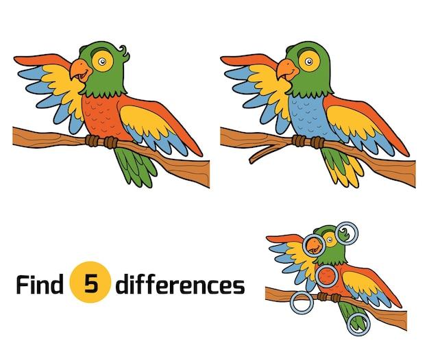 Znajdź różnice, gra edukacyjna dla dzieci, papuga