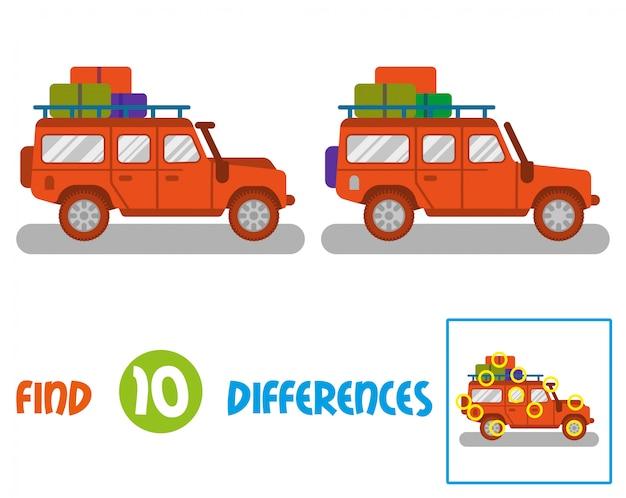 Znajdź różnice logiczna edukacja interaktywna gra dla dzieci. duży dobry pomarańczowy samochód suv safari samochód do podróży, transportu podróży. nowoczesny styl ilustracji ikona płaska konstrukcja.