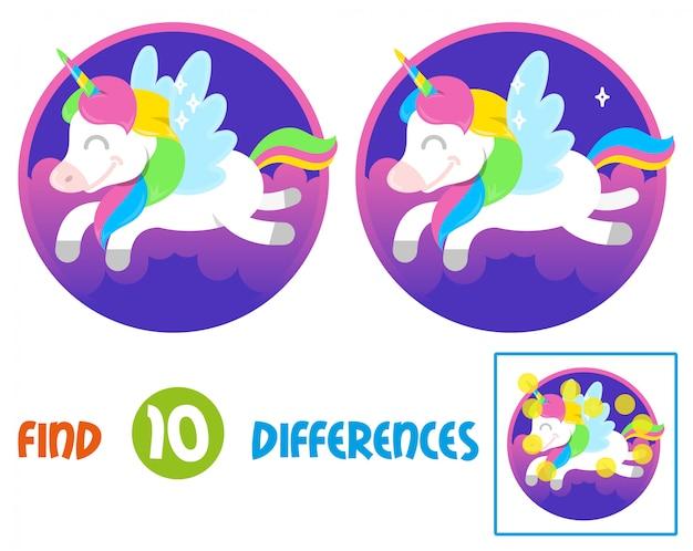 Znajdź różnice logiczna edukacja interaktywna gra dla dzieci. сutki uśmiech fantasy mały kucyk kolorowy jednorożec, które latają w pięknym magicznym kosmicznym niebie ilustracja postać z kreskówki dla dzieci koncepcja