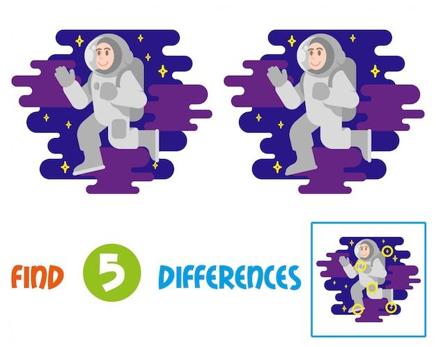 Znajdź różnice logiczna gra edukacyjna dla dzieci. młody uśmiech astronauta kosmonauta w skafandrze kosmicznym, który leci swobodnie między gwiazdami kosmiczne chmury. latający podbój człowieka w kosmos. ilustracja.