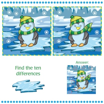 Znajdź różnice między dwoma obrazami - pingwin na tle lodu - ilustracja wektorowa