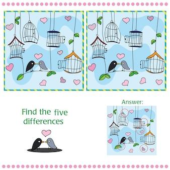 Znajdź różnice między dwoma obrazami z ptakiem