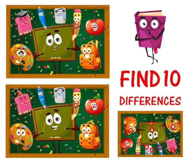 Znajdź różnice między zabawnymi postaciami szkolnymi