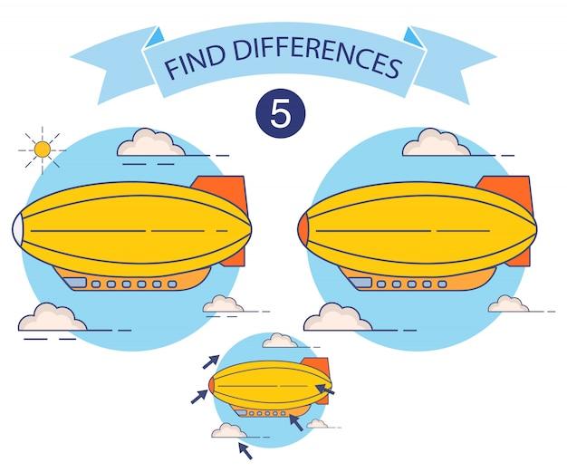 Znajdź różnice w sterowcu, gra edukacyjna dla dzieci, riddle dla przedszkola. sterowce lecą.