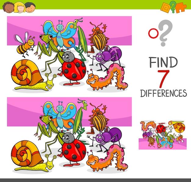 Znajdź różnice z owadami zwierząt