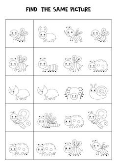 Znajdź to samo zdjęcie czarno-białych owadów. arkusz edukacyjny dla dzieci.