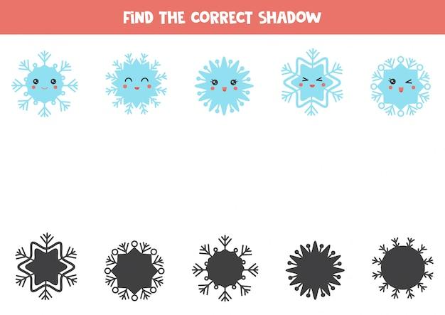Znajdź właściwe cienie płatków śniegu.
