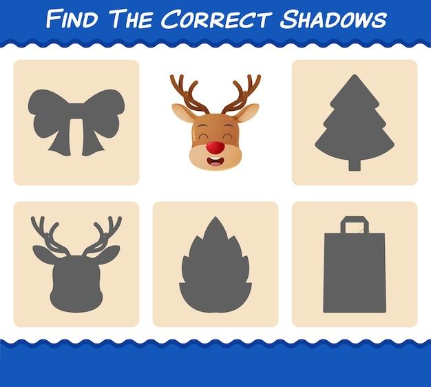 Znajdź właściwe cienie reniferów. wyszukiwanie i dopasowywanie gry. gra edukacyjna dla dzieci w wieku przedszkolnym i małych dzieci