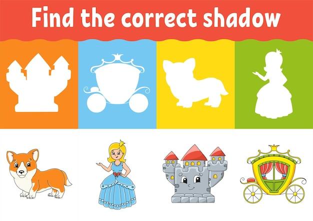 Znajdź właściwy arkusz cień edukacja gra w dopasowywanie dla dzieci