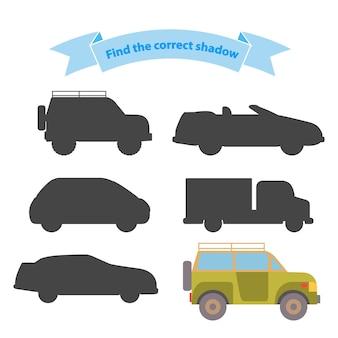 Znajdź właściwy transport cieni. gra edukacyjna dla dzieci, ciężarówek, pojazdów terenowych, suv-ów, samochodów sportowych.