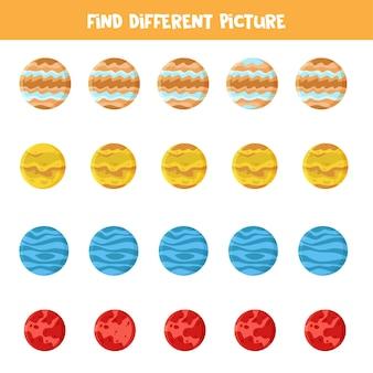 Znajdź zdjęcie, które jest inne w każdym rzędzie. gra z planetami układu słonecznego.