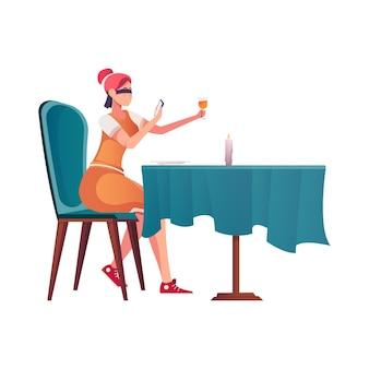 Znajoma romantyczna kompozycja z kobietą przy stoliku w kawiarni, trzymającą smartfona z zawiązanymi oczami