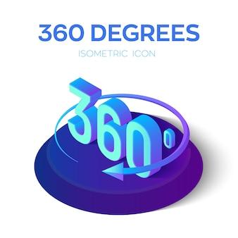 Znak 360 stopni. widok kątów izometrycznych.