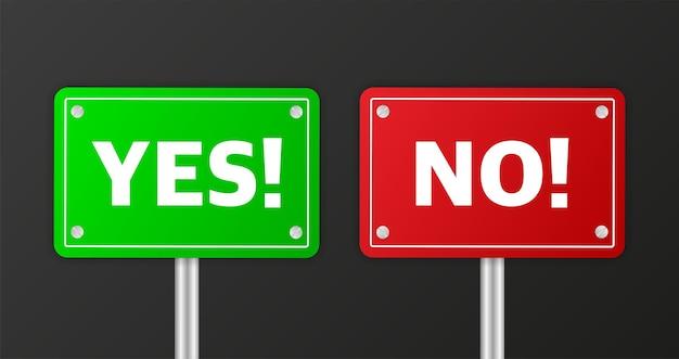 Znak biznesowy tak lub nie i tak lub nie polecam białe tło wsparcie satysfakcji biznesowej
