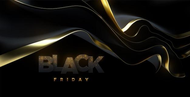 Znak black friday z czarno-złotą tkaniną streamingową