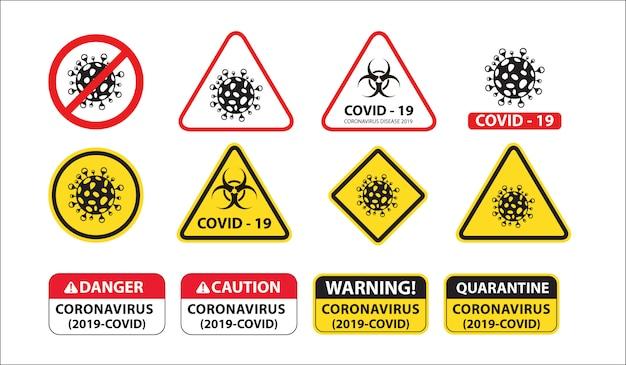 Znak blokady zagrożenia biologicznego wirusem corona